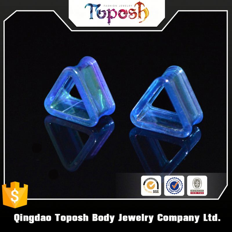 fashionable jewelry triangle 6g acrylic ear tunnels