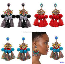 Exaggerated Statement Pom Pom Ball Tassel Drop Earrings Chunky Crystal Stone Tassel Earring