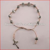 religious rosary crucifix cross statue keychain pendant wooden beads souvenir christian jewellery