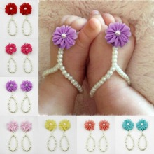 Lovely Children Foodbands Girls Baby Pearl Foot accessories Wonderful Chiffon Flower Footbands
