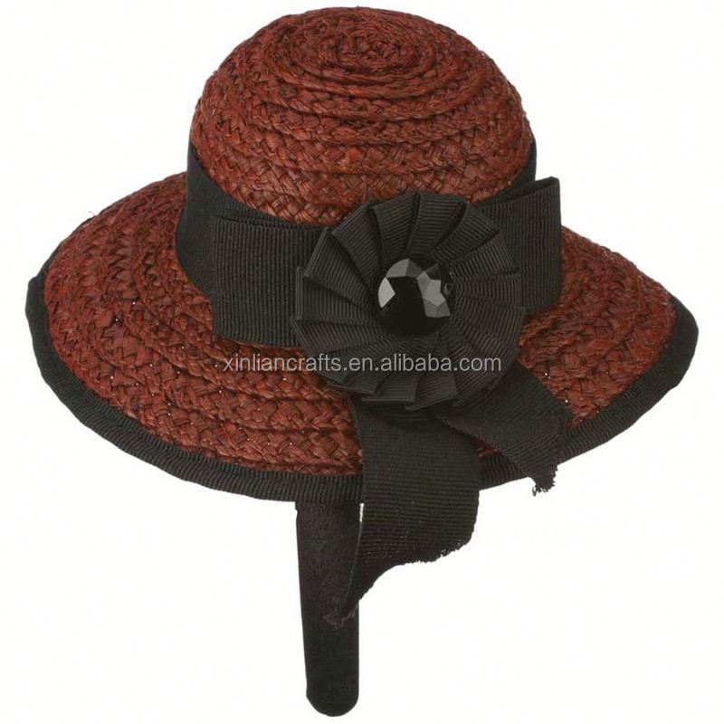 Free sample military style caps for women straw hat