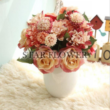 2017 SF2017091 New Arrival High sale Decorative Artificial Real Touch Dahlia Rose Bouquet for Wedding Home Office