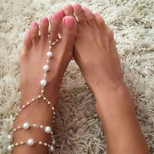 Chain Footless Bridal Beach Wedding Pearl Barefoot Sandals Stretch Anklet Women Jewelry Female Anklets 3318