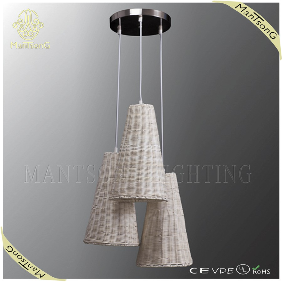 2015 new products large white rattan wicker light fixtures pendant lamp