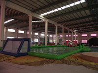 Popular outdoor inflatable football shoot, inflatable soap soccer field, inflatable sports games for kids and adults