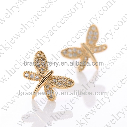 dragonfly 24 carat gold earrings