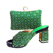New arrivals JA104-1 green wedge heel shoes and bag