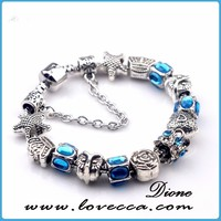 Luxury Silver Charm Bracelet Bangle For Women With High Quality European Style Murano Glass Bead Charm Bracelet