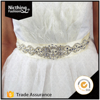 Wholesale High Style Elegant Design Bridal Sash Applique Crystal Embellishments Rhinestone Applique for Sash NRA006