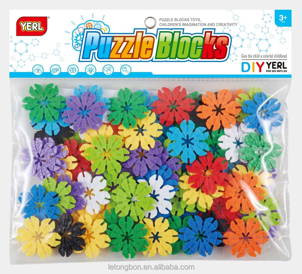 DIY puzzle assembly blocks Varity Leaves Snowflake Puzzle Blocks