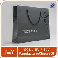 recycle glossy black paper shopping bag with logo