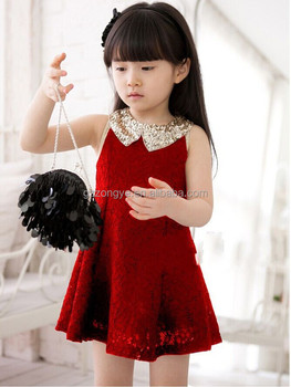 kids princess sequin dress with collar China manufacturer OEM supply