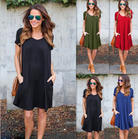 Summer leisure women color A word skirt cotton v collar short sleeve red dress