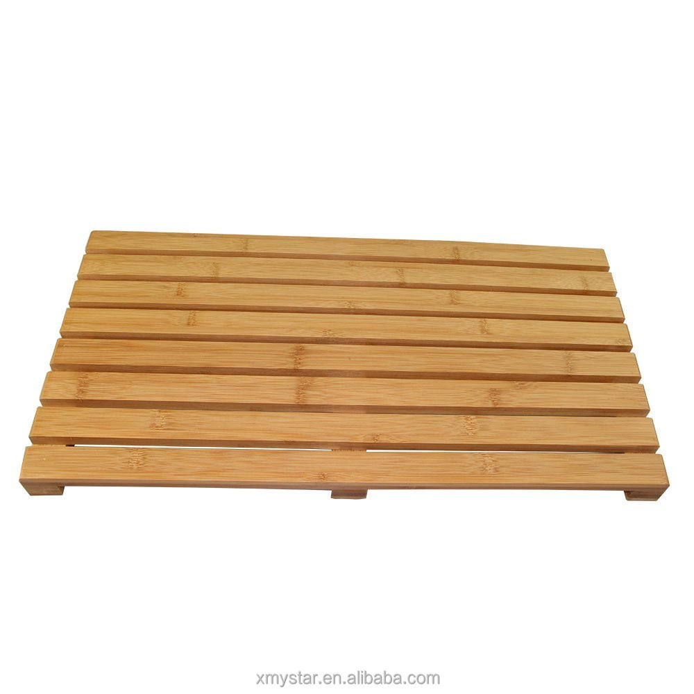 deluxe skid bamboo solid mat com design ip resistant by heavy walmart shower bath floor duty and toilettree products
