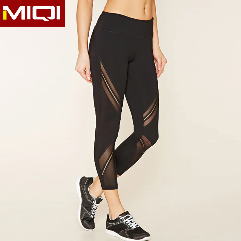 Logo Embroidered Yoga Activewear Sexy Mesh Sports Leggings Training Pants For Women