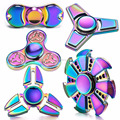 2017 Top seller spining finger gyro color changing Aluminium alloy spinner fidget rainbow