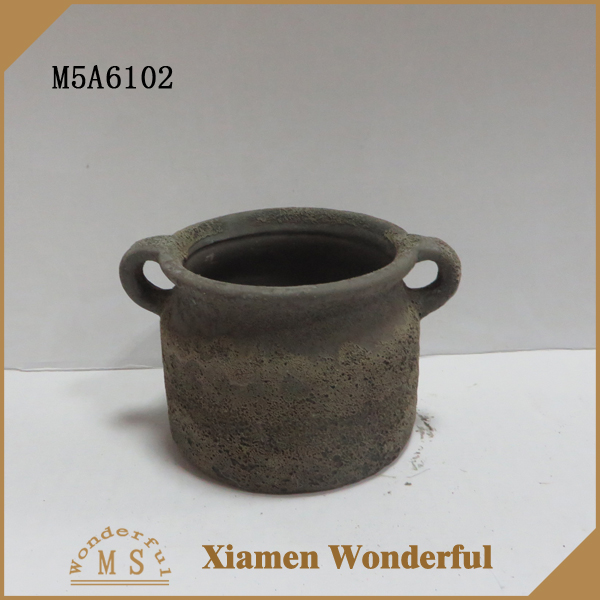ceramic brown foaming finished planter pot with handle
