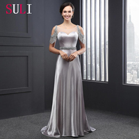 SL2005 Sweetheart A-line Evening Gown Luxury Silver Beaded Sashes Backless Evening Dress 2016