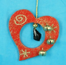 Chiristmas wooden ornament MDF heart with bell christmas decoration