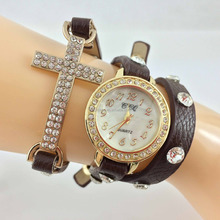 Multi layer colored leather strap crystal rhinestone cross charm women vogue watch paypal accept.