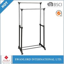 adjustable folding double level iron pipe clothes drying rack stand