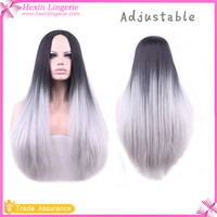 2016 Hot Sale Long Straight Synthetic Mixed Grey Wig