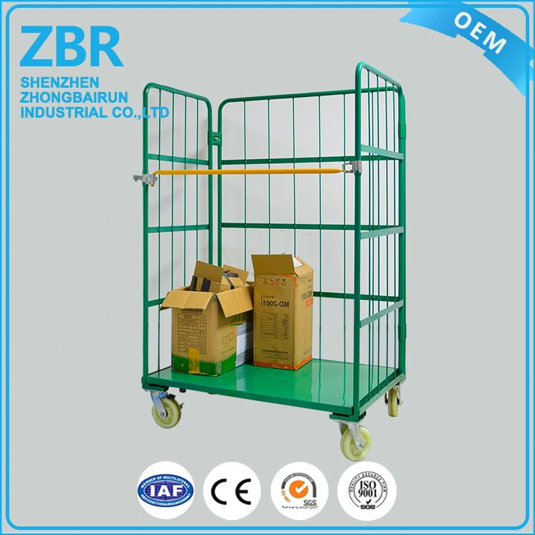 2 Sides Roll Galvanized Wire Logistics Trolley Nesting Full Security Cages