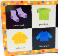 FDT customized eco-friendly and colorful baby touch and feel board book printing with cloth