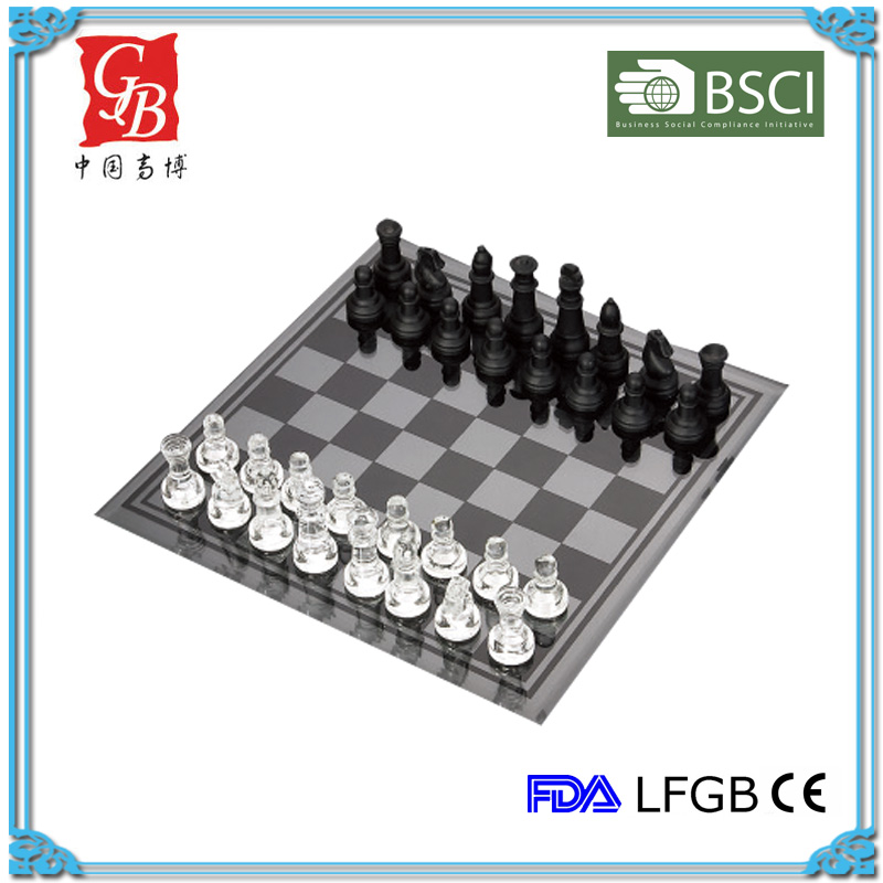 7.5'' Glass chess game set glass chess & checkers white & black pieces