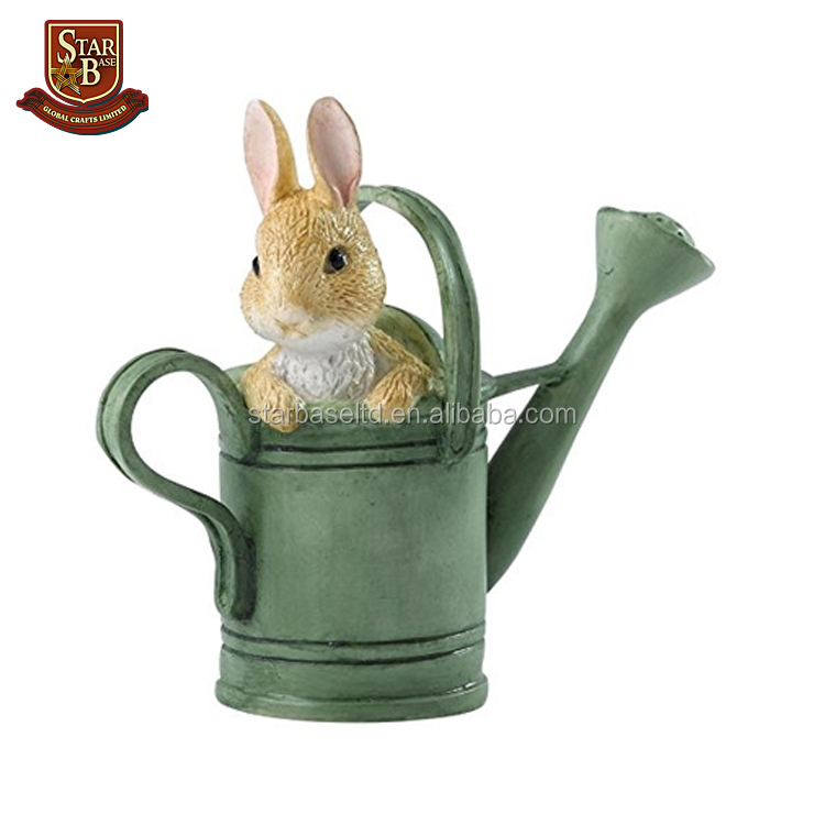 Factory custom made hand painted resin rabbit watering can mini figurine