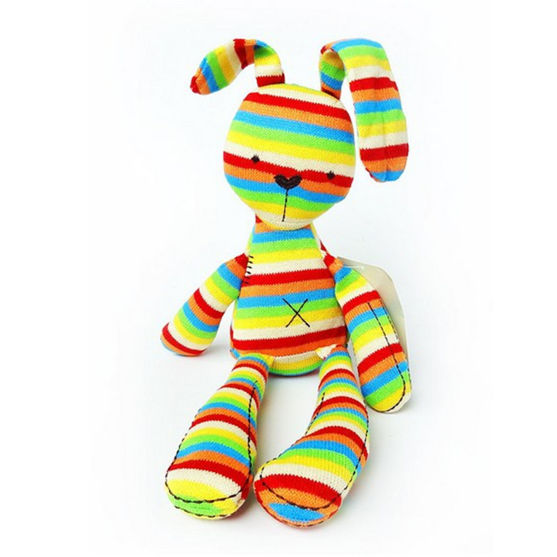 40CM Rainbow Rabbit With Tags Iridescent Baby Bunny For Baby Figures Plush Toys Rabbit For Kids