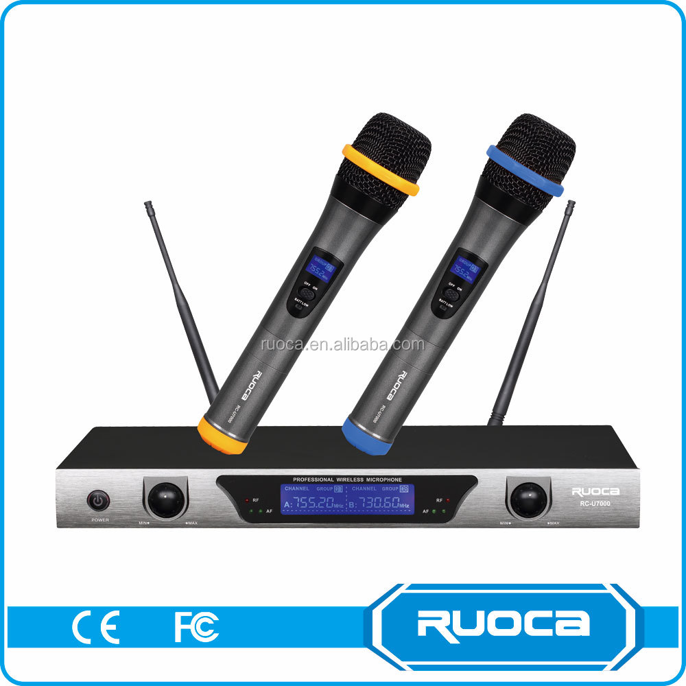 High Power Uhf Dual Channel FM Lapel Noise Canceling Wireless Microphone For Karaoke