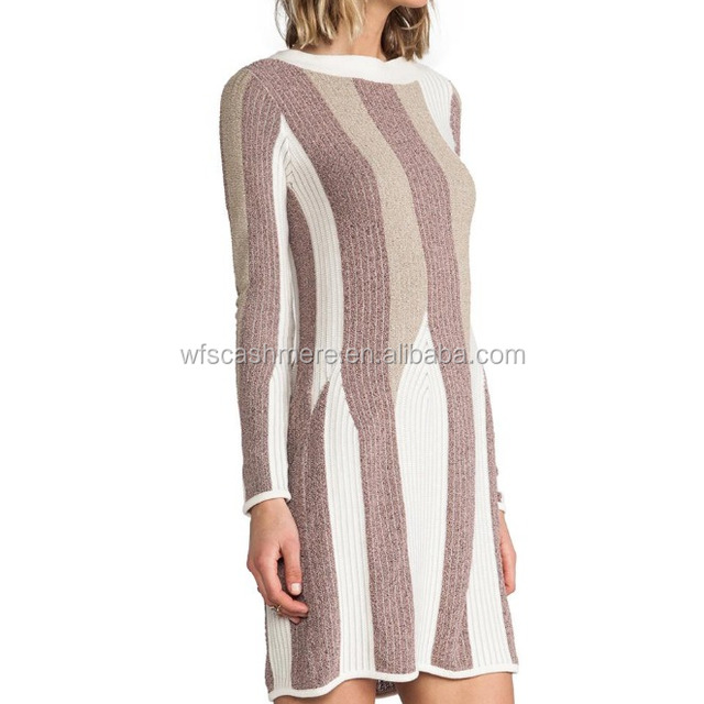 Irregular color women wool knitted dress for winter
