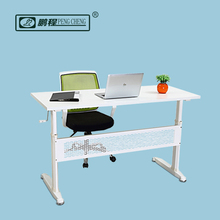 Ergonomic With Hand-crank MDF Top2 Seat Office Desk