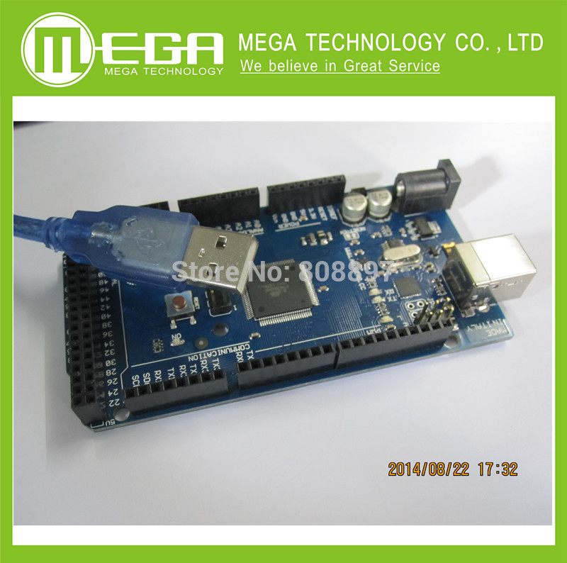 1LOT=1set! 1PCS MEGA2560 R3 ATmega2560 AVR USB board +1PCS USB cable (ATMEGA2560 / ATMEGA16U2 )