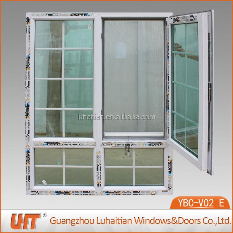 PVC casement window with platic grids
