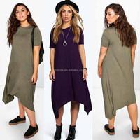 Plus Size xxxl Women Clothing Online Shopping Sites China Clothes Plus Hanky Hem Swing Dress Custom Daily Wear Dress Women