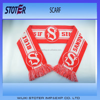 woven acrylic double layers soccer knit scarf with fringes