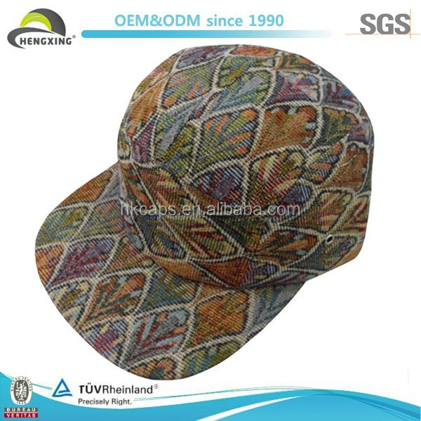 OEM/ODM Flax Fashion Pattern Leather Strap 5 Panel Custom Hat