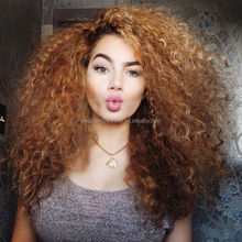 Top quality ombre brown 22 inch afro kinky brazilian human hair wig