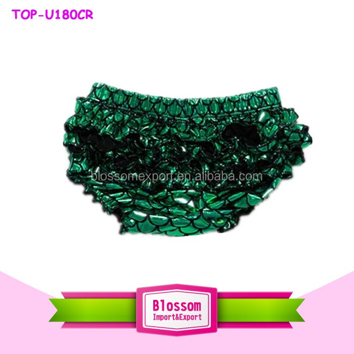 2016 Beautiful persnickety remake fashion design mermaid new born clothes baby clothes girl shiny green ruffle bikini wholesale