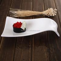 customized modern sushi pizza dessert plain white irregular porcelain ceramic plate