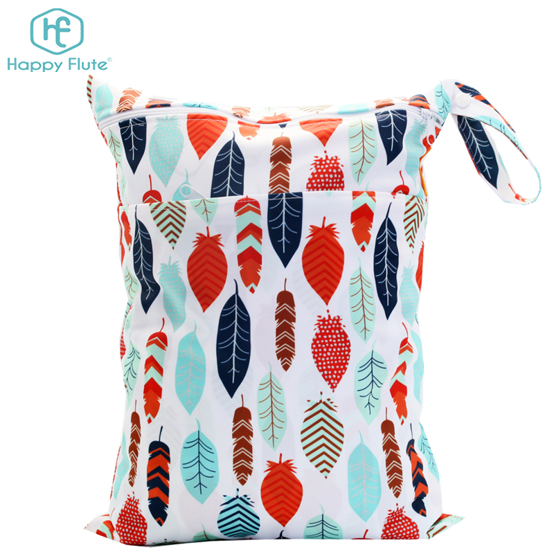 Happy flute Printing Double Zipper Waterproof Wet Bag hanging Baby Diaper bag