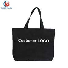 fashion black canvas shoulder tote bag with your own logo printed