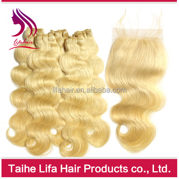 peruvian hair weave blonde hair bundles with lace closure