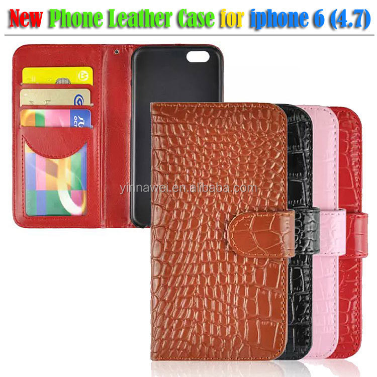 2014 New Product Manufacturer Cowhide Genuine Crocodile Leather Case for iphone 6