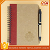 80 sheets Cheap promotional kraft paper notebook with pen for office supply kraft notebook