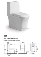 Square One Piece WC Siphonic Wc Toilet Size 897
