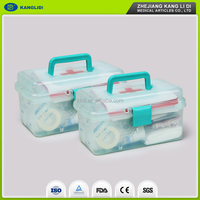 Medical emergency hand take plastic first aid box/kit for home car traveling
