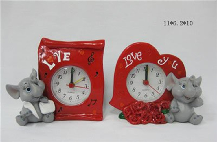 Manufacturer supply desk clock polyresin table clock with elephant for home decor